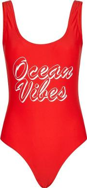 Red Scoop Swimsuit
