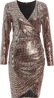 Bronze Sequin Wrap Bodycon Dress