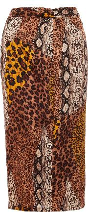 Multi Colour Satin Snake And Leopard Print Skirt