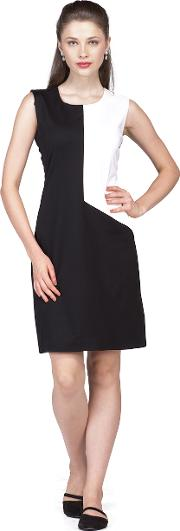 Black and white side panel dress