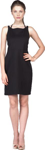Black halter sleeveless dress