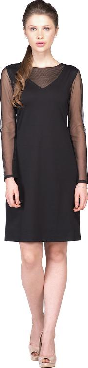 Black net neck full sleeves dress