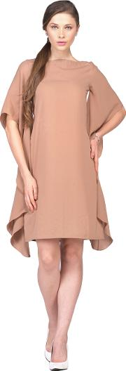 Dark nude flair sleeves dress