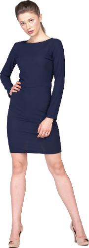 Navy blue full sleeves back zip dress