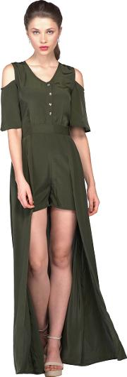 Olive green jumpsuit with overlay
