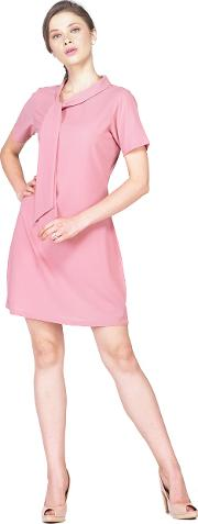 Pink neck tie up dress