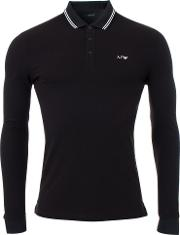 Long Sleeved Tipped Collar Polo In Black