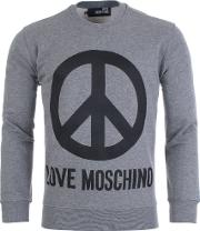 Peace Sign Sweater In Grey