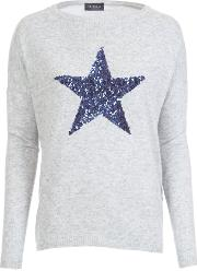 Sequin Star Cashmere Mix Jumper In Silver
