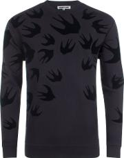 Signature Swallow Velvet Print Sweatshirt
