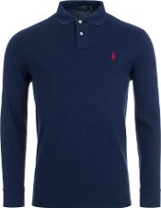 Custom Slim Fit Mesh Long Sleeve Polo Navyred H