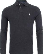 Slim Fit Mesh Long Sleeve Polo