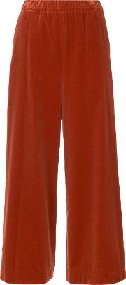 08sircus Cropped Wide Legged Trousers Women Cottonrayon 0, Red