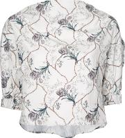 Cropped Floral Print Blouse Women Cottoncupro 36, Women's, White