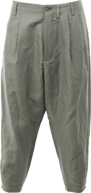 Cropped Loose Fit Trousers Men Linenflaxnylon 5, Green