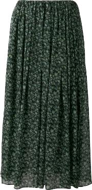 Floral Print Maxi Skirt Women Cottoncupro 2, Green