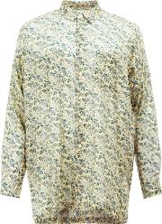 Floral Print Shirt Men Cottoncupro 4, Yelloworange