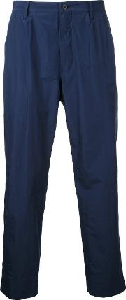 Straight Cropped Trousers Men Cottonpolyester 4, Blue