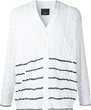 Striped Cable Knit Cardigan Men Polyester 5, White