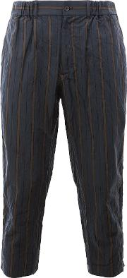 Striped Cropped Trousers Men Cottoncupro 5, Blue