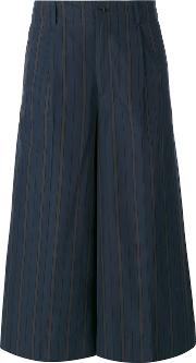 Striped Cropped Trousers Women Cottoncupro 1, Blue