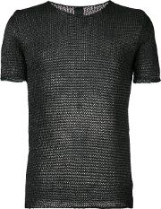 Knit Round Neck T Shirt Men Cottonpolyamide M, Black
