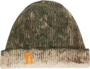 Distressed Ribbed Beanie Men Cotton One Size