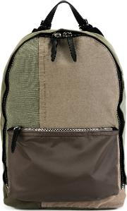 3.1 Phillip Lim Canvas Patchwork Backpack Men Cottoncalf Leathernylon One Size, Green
