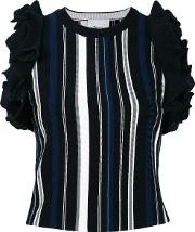 3.1 Phillip Lim Vertical Stripe Ruffled Top Women Cottonpolyesterspandexelastaneviscose L, Women's, Black
