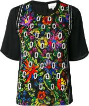 Floral Embroidered Crepe Blouse