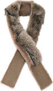Fox Fur And Shearling Scarf Women Fox Fursheep Skinshearling One Size, Women's, Nudeneutrals