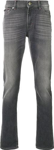 7 For All Mankind Stonewashed Slim Fit Jeans Men Cottonspandexelastane 30, Grey