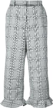 Plaid Cropped Trousers With Frill Cuffs