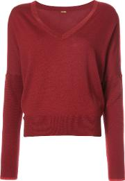 Adam Lippes Long Sleeve V Neck Sweater Women Acetate L, Red