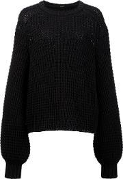 Balloon Sleeve Jumper Women Cotton Xs, Women's, Black
