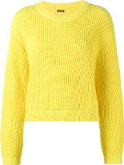 Cropped Boxy Knitted Jumper Women Cotton M, Women's, Yelloworange