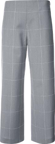 Grid Print Cropped Wide Leg Trousers