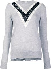Lace Inset Jumper Women Merino L, Grey
