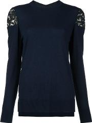 Lace Shoulder Jumper Women Merino Xs, Blue
