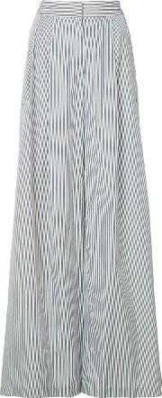 Pleated Sides Palazzo Trousers Women Cotton 12, White