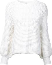 Waffle Knit Jumper Women Cotton Xs, White