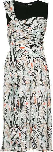 Abstract Print Midi Dress Women Polyester 4, Women's, White