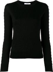 Adeam Pearl Embellished Knitted Top Women Silk M, Black