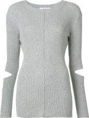 Cut Out Sleeve Knitted Sweater Women Nylonpolyurethanelyocell M, Grey