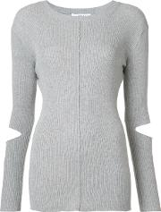 Cut Out Sleeve Knitted Sweater Women Nylonpolyurethanelyocell M, Women's, Grey