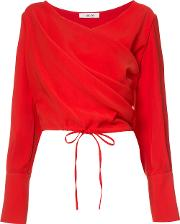 Draped Wrap Blouse Women Polyester S, Red