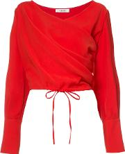 Draped Wrap Blouse Women Polyester Xs, Women's, Red