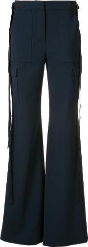 Flared Trousers Women Polyesterpolyurethane 2, Women's, Blue