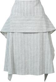 Layered Pleated Skirt Women Linenflaxspandexelastaneviscose 4, Women's, Grey