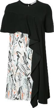 Patterned Frill Dress Women Polyester Xs, Women's, Black